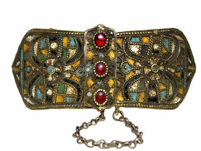 Extremely Rare Post Byzantine, Medieval Enamel Decoration Buckle Clasp Set+++