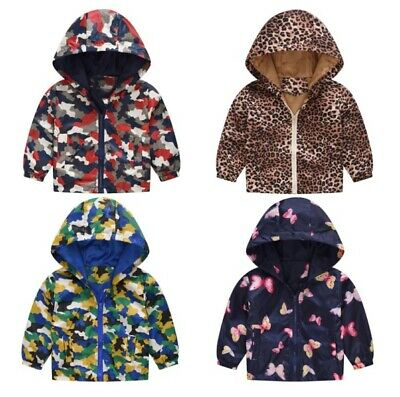 Baby Girls Boys Camouflage Butterfly Hooded Coat Toddler Kids Fashion Jacket Top