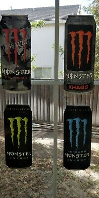 """MONSTER ENERGY STICKERS LOT OF 4 DIFF 11"""" long KHAOS ASSAULT GREEN BLUE LO CARB"""