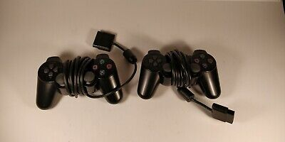 Two Official 2 Sony PlayStation 2 PS2 Black Dualshock 2 Controllers Original OEM