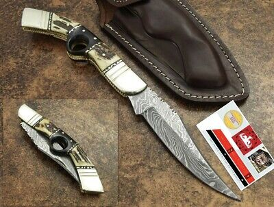 Handmade custom Damascus Folding  KNIFE WITH Stag  Horn 12 Inches
