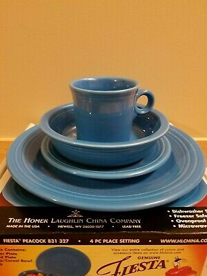 Homer Laughlin FIESTA PEACOCK (Retired Color) 4-Piece Place Setting NEW