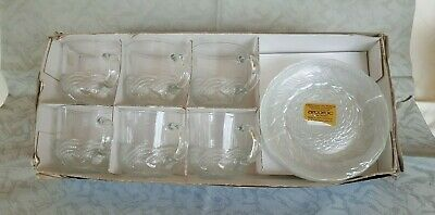 Vintage Arcoroc France ATLANTIC 12 Piece Cup & Saucer Set - Brand new in box