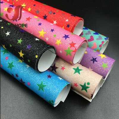 A4 Sparkly Star Fine Glitter Floral Print Leather Fabric Leatherette Bow Craft