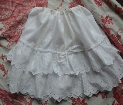 Antique French pure cotton childs' skirt broderie anglaise/eyelet lace frills