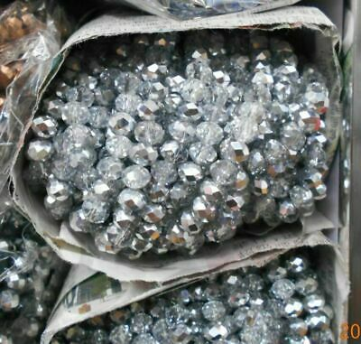 Rondelle Faceted Crystal Glass Beads For Jewelry Making Loose Spacer Round Beads
