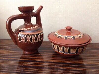Pottery Lidded Pot Bowl + Oil Jug Terracotta Clay Brown Decorated Hand Painted