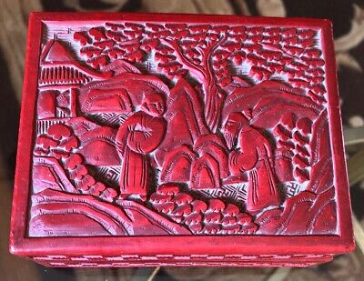 "Vintage Red Chinese Carved Cinnabar Lacquer Box 4.5""x 3.5"" 2"""