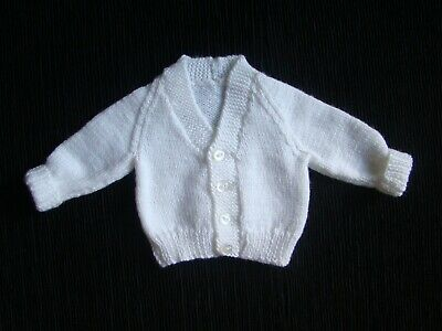 Baby clothes UNISEX BOY GIRL premature/tiny<5lbs/2.3kg soft white 4ply cardigan