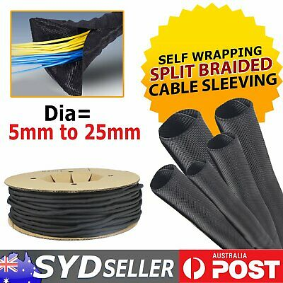Split Braided Braiding Cable Sleeving Wire Loom Self Wrap Sleeve Dia=5mm to 25m