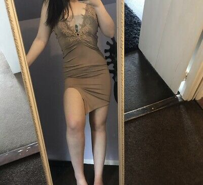 05b1fcf664 Oh Polly Lace Up To It Thigh Split Nude Camel Dress Bodycon Size 8