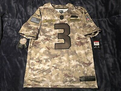 be31117e Russell Wilson Seattle Seahawks Salute to Service Military Camo AUTHENTIC  Jersey