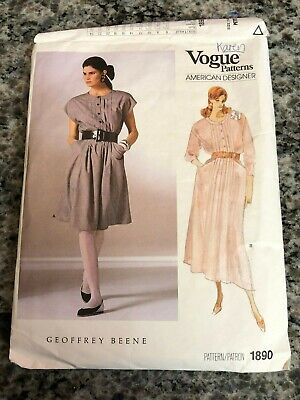 1987 Vogue Sewing Pattern 1890 Misses Geoffrey Beene Pintuck Front Dress 6