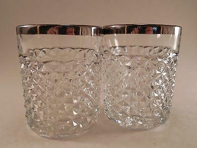 Pair of Diamond Cut Crystal Pattern Silver Plated Rim Small Drinking Glasses