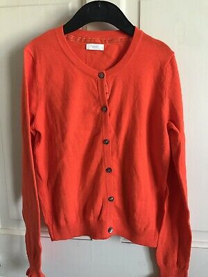 BNWOT Next Cardigan. Girls. Age 3 - 10 Years. Bright Orange. Ruffle Cuff. Soft