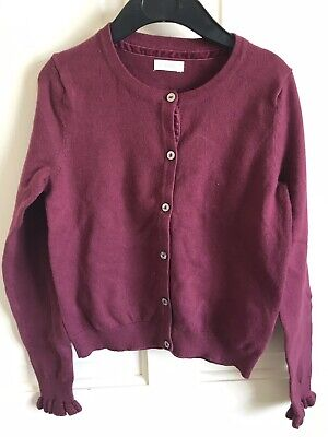 BNWOT Next Cardigan. Burgandy. Girls. Age 3 - 9 Years. Soft Touch. Ruffle Cuff