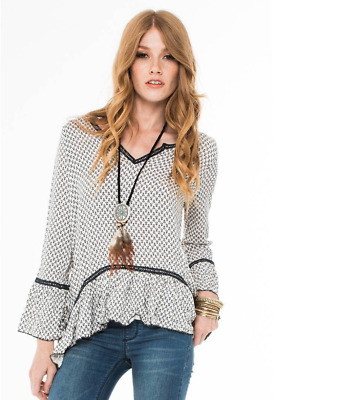 Living Doll Los Angeles Cricket Bell Sleeve Top Size Small
