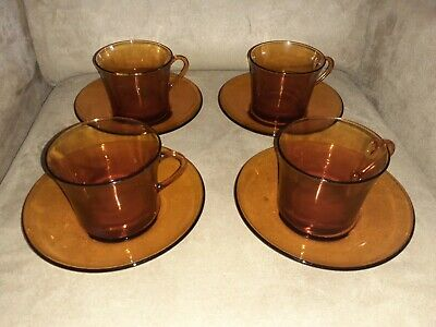 VINTAGE DURALEX-Amber Cup And Saucers-SET OF 4-Made in France-Excellent