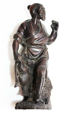 "Vintage Resin Hand Carved Old Chinese Fisherman Figurine Statue 7"" Collectible"