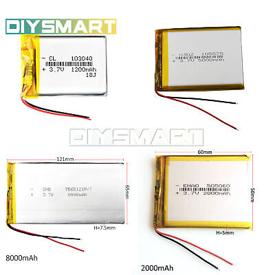 3.7V 2000mAh Charging Battery Li Po Polymer ,headphone DVD GPS 103040/7565121 AU