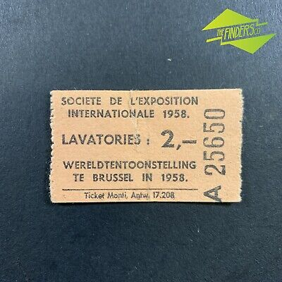 Vintage 1958 Worlds Fair Brussels Wereldtentoonstelling Lavatories Toilet Ticket