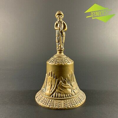 Magnificent Vintage Cast Brass Bell Soldier With Small Dog Militaria Animals