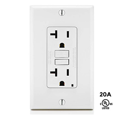 20A, Tamper Resistant TR, GFCI GFI, Safety Outlet Receptacle w/ LED UL2015