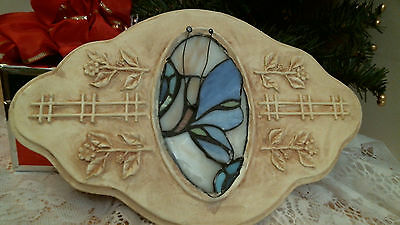 BUTTERFLY Wall Plaques with Stained Glass center 3-D RESIN