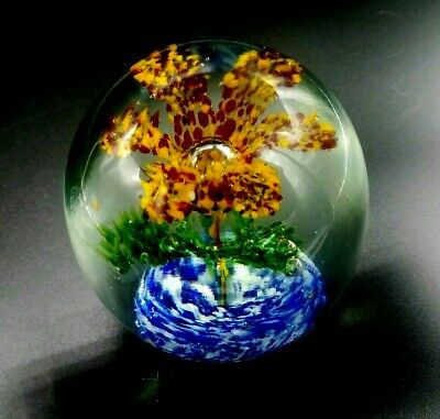 Vintage Hand Blown Red and Orange Floral Flower Art Glass Paperweight 3 5/8""