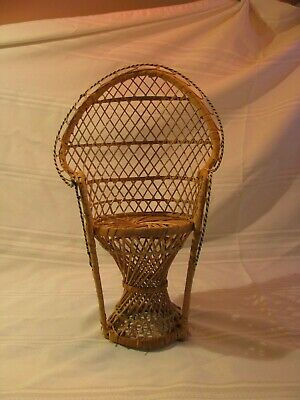 """Wicker High Back Chair for Sitting Doll or Bears Doll Furniture 16 1/2"""" tall"""