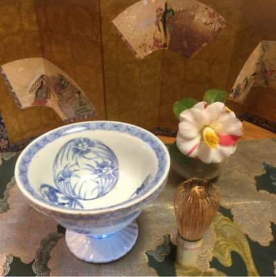 Late Edo period Japanese antique vintage Porcelain Haisen sake cup flower sakura