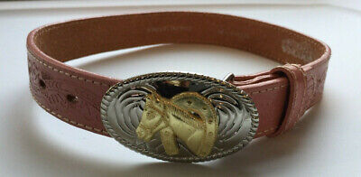 Nocona-Girl's-Kid-Cowgirl-Horse-Pink-Leather-Belt-Gold-Silver-Buckle-20-N4410530