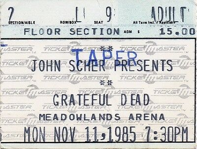 Grateful Dead Ticket Stub  11-11-1985  Meadowlands Arena