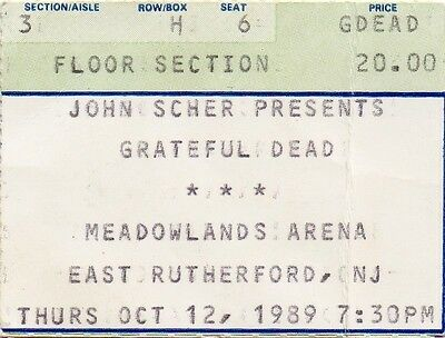 Grateful Dead Ticket Stub  10-12-1989  Meadowlands Arena