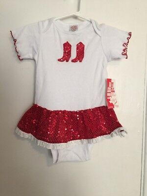 Girls-24-Months-Baby-Korral-One-Piece-Red-Sparkly-Sequins-Western-Boots-Ruffles