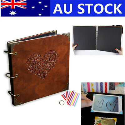 Photo Album DIY Scrapbook Vintage Leather Cover 3Ring Binder Picture Booth Album