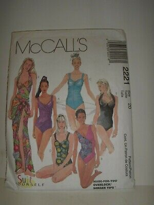 20bd657fa92 McCalls Sewing Pattern 2221 Misses One-Piece Bathing Suit & Pareo Size 20  Uncut