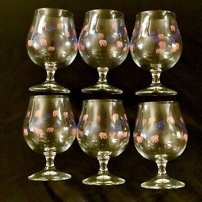 Delirium Tremens Beer Glass With Elephants Set Of 6 In Box FREE SHIPPING - NEW