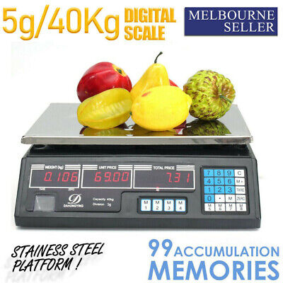 Kitchen Digital Scale Business Shop Electronic Market Weight Scales 40kg Black