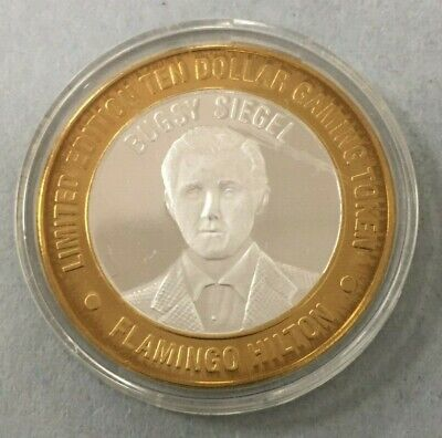 The Flamingo Hilton Las Vegas Bugsy Siegel .999 $10 Silver Strike Token #CO034
