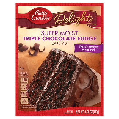 Betty Crocker Delights Super Moist Triple Chocolate Fudge Cake Mix, 15.2 oz Box