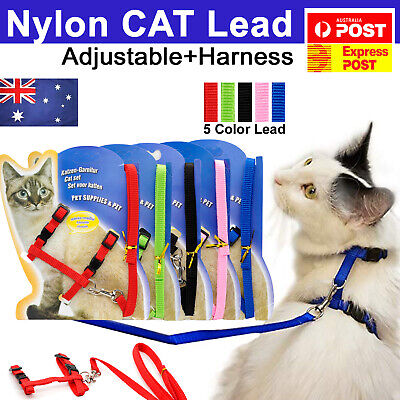 Pet Kitten Cat Walking Harness Lead Nylon Leash Safety Clip Adjustable Collar