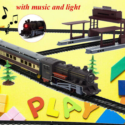 Electric Classic Train RAIL Vehicle Kids Toy Set Track Operated Carriages