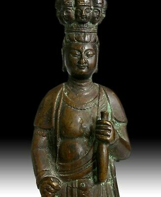 Antique Chinese Bronze Eleven Headed Avalokiteshvara Guan Yin Buddha Statue 觀音