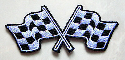 Extreme Racing Checkered Finished Flag Embroidered Iron on Patch Free Postage