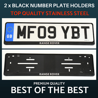 2 x Luxury Black Stainless Steel Number Plate Holder Surround for Range Rover