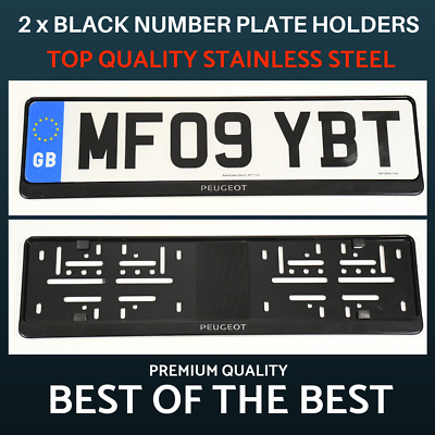 2 x Luxury Black Stainless Steel Number Plate Holder Surround Frame for Peugeot