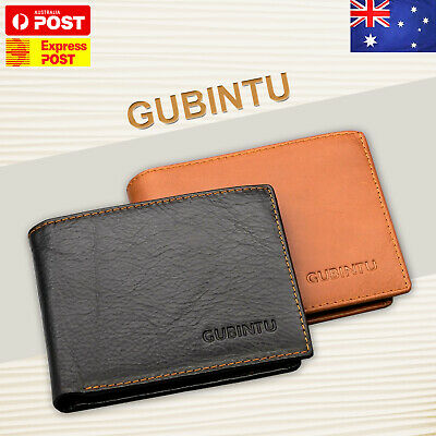 Genuine Leather Mens Purse Bifold Credit Card Wallet Anti Scan  RFID Blocking