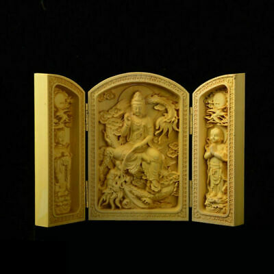 Hand-carved faucet Guanyin wood carving Kwan-Yin amulet box statue