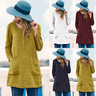 UK Womens Summer Cotton Linen Baggy Blouse Shirts Ladies Long Sleeve Tunic Tops